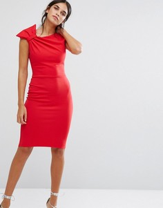 Платье-футляр миди с бантом на плече City Goddess - Красный