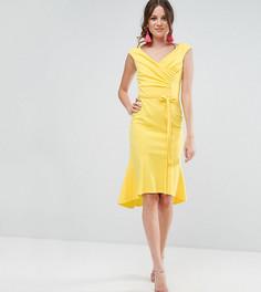 Платье миди с запахом и оборкой на подоле City Goddess Tall - Желтый