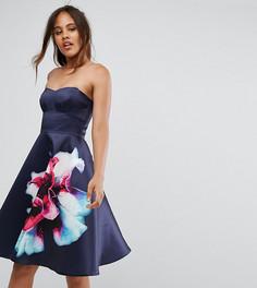 Короткое приталенное платье-бандо с цветочным принтом City Goddess Tall - Синий