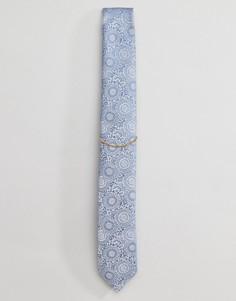 Галстук с цветочным принтом и цепочкой Noose & Monkey - Синий
