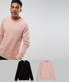 Набор из 2 свитшотов (черный/розовый меланж) ASOS - СКИДКА - Мульти
