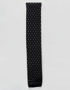 Трикотажный галстук с квадратными концами Heart & Dagger - Черный