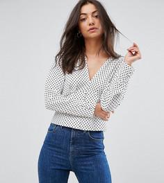 Блузка в горошек в стиле 40-х с глубоким вырезом ASOS TALL - Мульти
