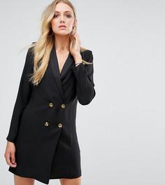 Платье с лацканами и золотистыми пуговицами ASOS TALL - Черный