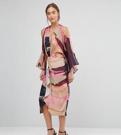 Платье-кимоно миди с абстрактным принтом ASOS TALL - Мульти