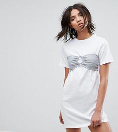 Платье-рубашка оверсайз с декоративным бралеттом Urban Bliss - Белый