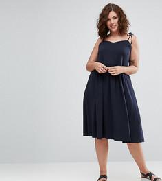 Платье миди с завязывающимися бретельками эксклюзивно для ASOS CURVE - Темно-синий