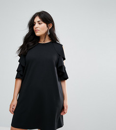 Свободное платье с оборками ASOS CURVE - Черный