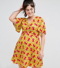 Желтое чайное платье с цветочным принтом и сборкой на груди ASOS CURVE - Мульти