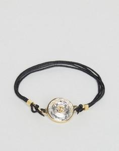 Веревочный браслет с подвеской-пуговицей и кристаллом Ted Baker - Черный