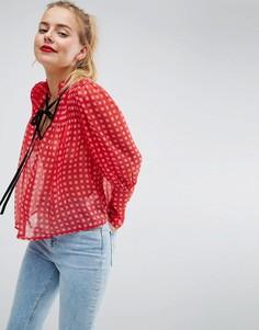 Свободная блузка в клеточку с контрастной завязкой ASOS - Мульти