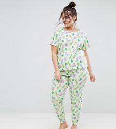 Пижамные брюки и футболка с принтом кактуса ASOS CURVE - Мульти