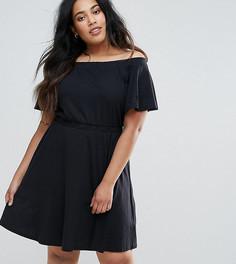 Короткое приталенное платье с открытыми плечами ASOS CURVE - Черный