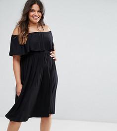 Платье миди с открытыми плечами и оборкой ASOS CURVE - Черный