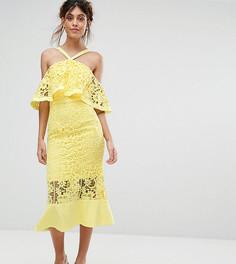 Кружевное платье миди с открытыми плечами Jarlo - Желтый