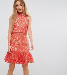 Кружевное платье мини для выпускного Jarlo Petite - Оранжевый