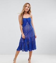 Кружевное платье миди на бретельках Jarlo Petite - Синий