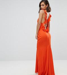 Платье макси с открытой спиной и оборкой Jarlo Petite - Оранжевый