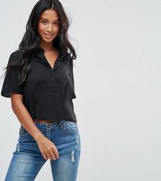 Укороченная блузка с короткими рукавами ASOS PETITE - Черный