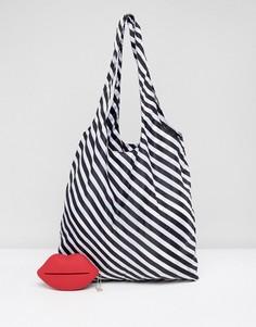 Полосатая сумка-шоппер, складывающаяся в форму красных губ Lulu Guinness - Красный
