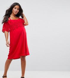 Платье с открытыми плечами и вышивкой New Look Maternity - Розовый