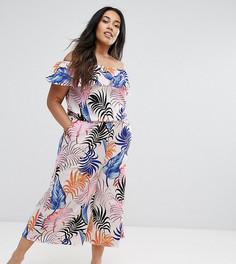 Комбинезон с юбкой-брюками, оборкой и принтом пальмовых листьев New Look Curve - Белый