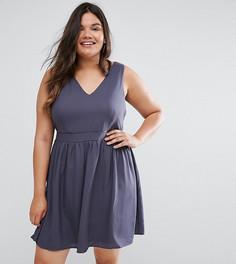 Короткое приталенное платье с завязкой на талии Junarose - Синий