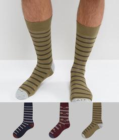 Набор из 3 пар носков в темно-синюю полоску и с бордовым узором Abercrombie & Fitch - Мульти