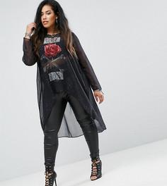 Оверсайз-блузка с асимметричным краем и принтом Religion Plus - Черный