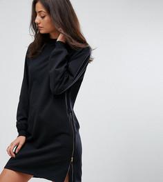 Трикотажное oversize-платье с молниями ASOS TALL - Черный