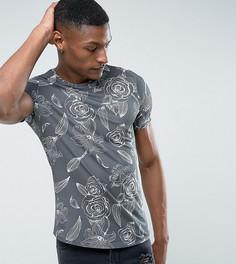 Свободная футболка с цветочным принтом Noose & Monkey TALL - Серый