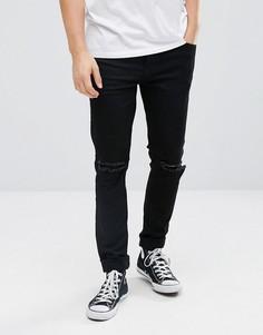 Черные узкие рваные джинсы Dr Denim Clark - Черный