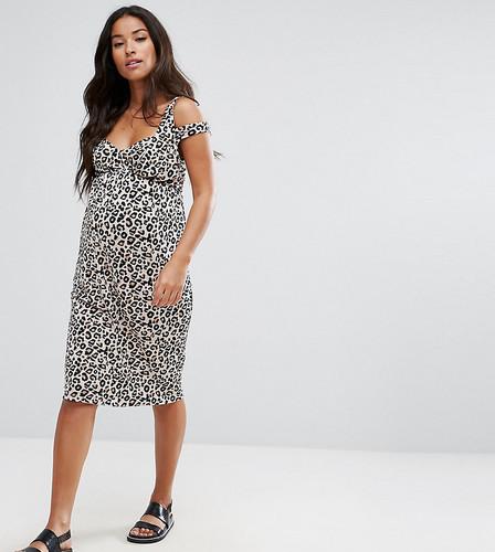 Платье с леопардовым принтом и перекрученными бретельками ASOS Maternity PETITE - Мульти