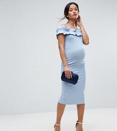 Платье с широким вырезом и оборкой ASOS Maternity PETITE - Синий