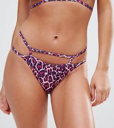 Плавки бикини с решетчатой отделкой и леопардовым принтом Missguided - Мульти