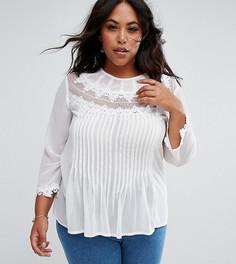 Блузка с вышивкой и кружевом ASOS CURVE - Белый