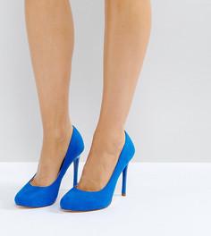 Синие туфли на каблуке для широкой стопы Faith Candy - Синий