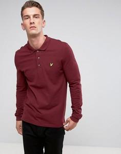 Бордовая футболка-поло с длинными рукавами и логотипом Lyle & Scott - Красный
