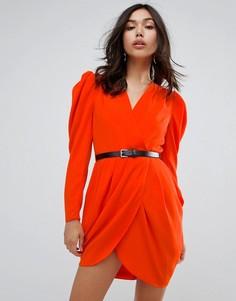 Платье мини с глубоким вырезом, запахом и поясом ASOS - Красный