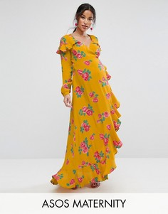 Чайное платье макси с длинными рукавами, запахом и цветочным принтом ASOS Maternity - Мульти