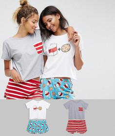 Набор из 2 пижам с шортами и футболкой ASOS - Мульти