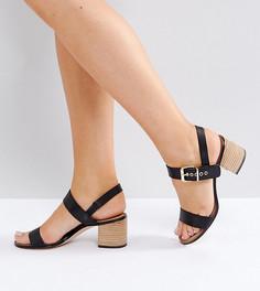 Кожаные сандалии на блочном каблуке с пряжками Dune Jany - Черный