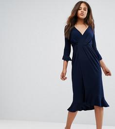 Платье миди с запахом и оборкой ASOS TALL - Темно-синий