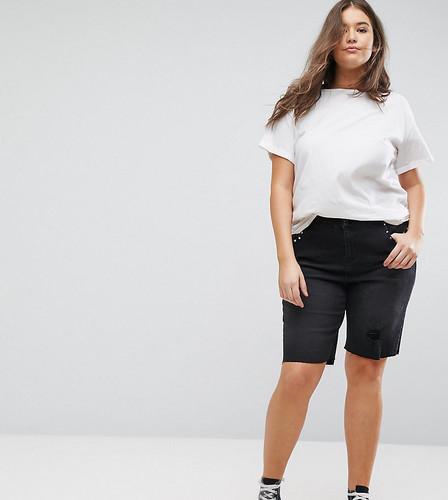 Черные выбеленные шорты с заклепками New Look Curve - Черный