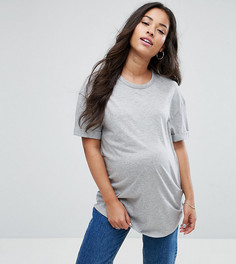 Свободная футболка бойфренда New Look Maternity - Серый