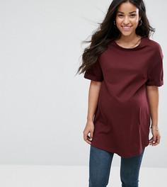 Свободная футболка бойфренда New Look Maternity - Красный