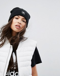 Черная шапка-бини с вышитым логотипом Adidas - Черный