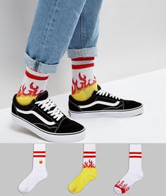 Набор из 3 пар носков в спортивном стиле с вышивкой в форме пламени ASOS - Мульти