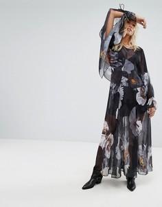 Многослойное платье макси с цветочным принтом и завязками на рукавах Religion - Мульти