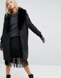 Дутая куртка оверсайз с шалевым воротником из искусственного меха Religion - Черный